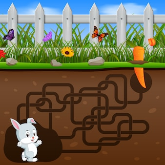 Pomóż królikowi znaleźć marchewkę