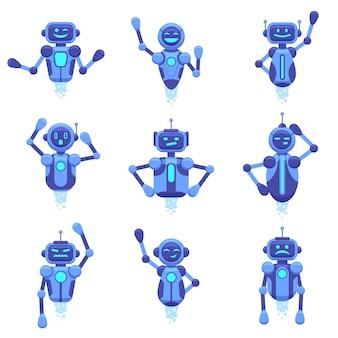 Pomoc bota na czacie. robotyczne boty do czatowania technologii robotyki, automatyczny asystent cyfrowy, futurystyczne postacie botów na czacie android, zestaw ilustracji. robot i cyber, pomoc techniczna wirtualna, mobilna ai