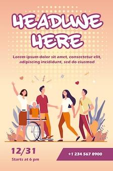 Pomoc dla osób niepełnosprawnych i szablon ulotki różnorodności