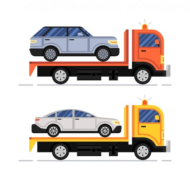 Pomoc drogowa. ewakuator samochodowy. zestaw