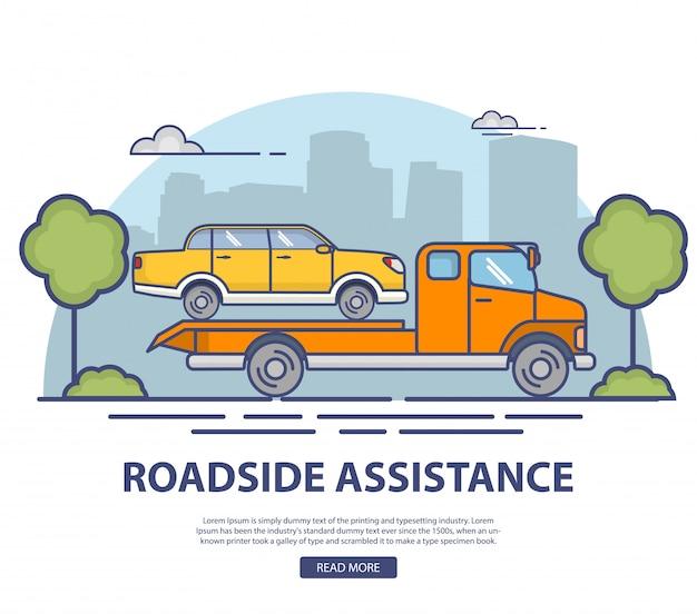 Pomoc drogowa przy ewakuacji uszkodzonego samochodu sedan.