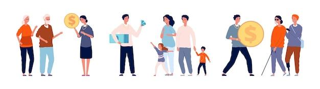 Pomoc finansowa. bogaci ludzie pomagają osobom pokrzywdzonym społecznie. wolontariat dla rodzin wielodzietnych, niepełnosprawnych i starszych wektor zestaw. przekaż monetę i gotówkę, dając wsparcie i pomoc ilustracyjną
