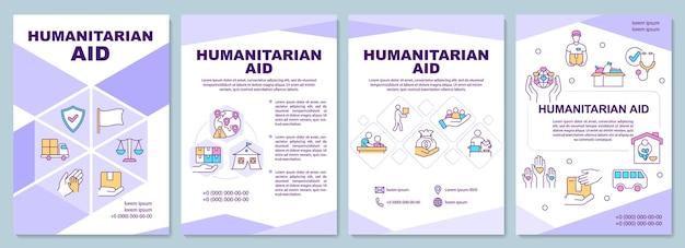 Pomoc humanitarna i szablon broszury możliwości schronienia. ulotka, broszura, druk ulotek, projekt okładki z liniowymi ikonami. układy wektorowe do prezentacji, raportów rocznych, stron ogłoszeniowych