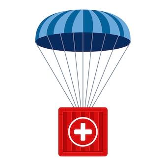Pomoc humanitarna. ładunek medyczny schodzi ze spadochronem w trudno dostępne miejsca. płaska ilustracja