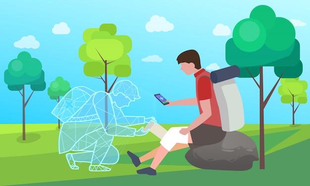 Pomoc online, opieka medyczna dla rannych kolana turysty