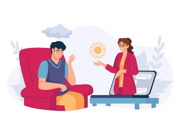 Pomoc psychologiczna online. wirtualna sesja terapii psychologa. przygnębiony człowiek uzyskać terapeutę wsparcia psychicznego przez połączenie wideo, koncepcja wektor. ilustracja wsparcia psychicznego online, konsultacja psychologa