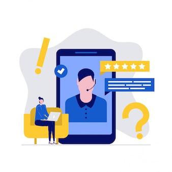 Pomoc techniczna online i koncepcja ilustracji pomocy technicznej ze znakami. klient kobieta zadaje pytania i odbiera odpowiedzi.