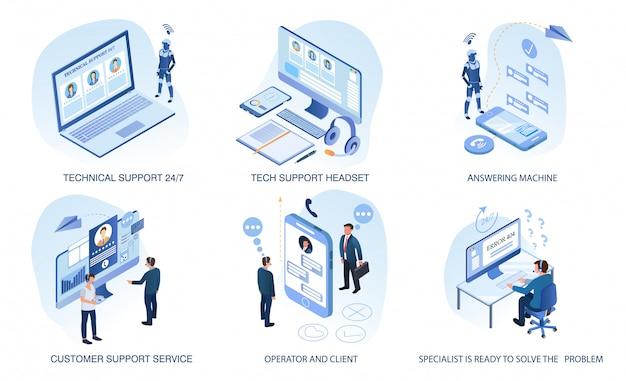 Pomoc techniczna, zestaw obsługi klienta na białym tle