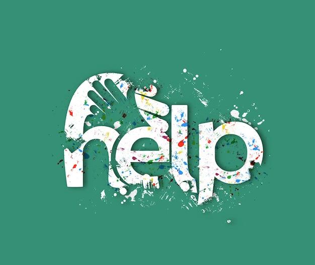 Pomoc tekst z projektem logo potrząsania dłonią, projektowanie wektorów