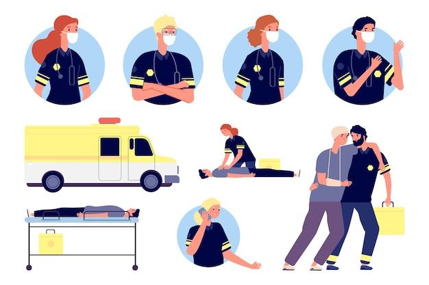 Pomoc w nagłych wypadkach. postacie ratowników medycznych, pierwsza pomoc i ratowanie ludzi. pracujący zespół medyczny, awatary pogotowia ratunkowego i lekarzy. ilustracja wektorowa personel szpitala. pomoc lekarza w nagłych wypadkach, służba medyczna