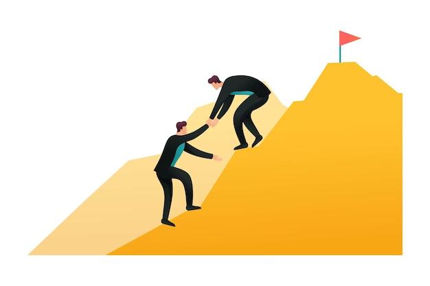 Pomoc w osiąganiu celów, przywództwo, trener biznesu. droga do sukcesu. płaski znak 2d. koncepcja projektowania stron internetowych.