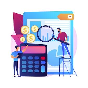 Pomoc w zakresie audytu. raport finansowy, analiza księgowa, zarządzanie finansami firmy. finansista dokonujący oceny wydatków korporacyjnych