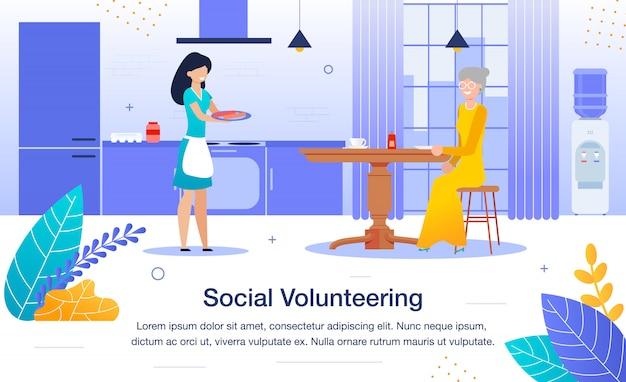 Pomoc wolontariusza na banner samotnego emeryta