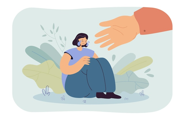 Pomocna dłoń dla osoby płaczącej w depresji. ilustracja kreskówka