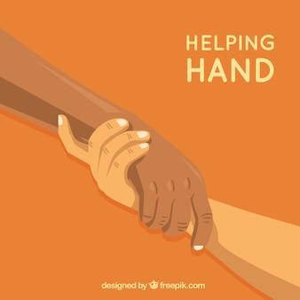 Pomocna dłoń wspiera tło w stylu płaskiej