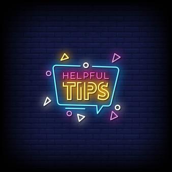 Pomocne wskazówki tekst w stylu neonów