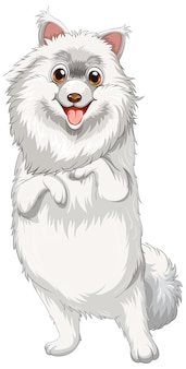 Pomorski pies kreskówka na białym tle