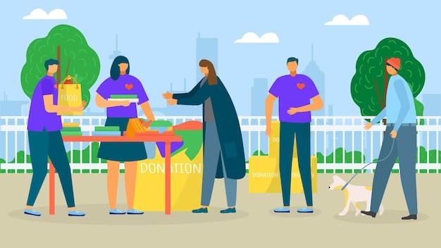 Pomóż bezdomnym ofiara charytatywna ilustracji wektorowych mężczyzna kobieta postać troska o biedną osobę v...