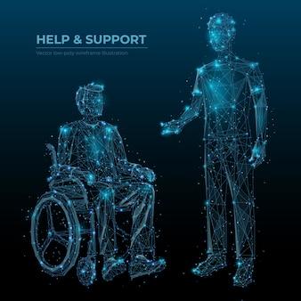 Pomóż i wspieraj szablon banera szkieletowego low poly. osoby niepełnosprawne dbają o media społecznościowe po wielokątnym projekcie. nieprawidłowa grafika siatkowa 3d na wózku inwalidzkim i dozorcy z połączonymi kropkami