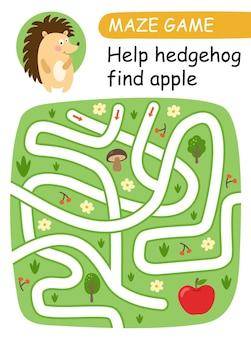 Pomóż jeżowi znaleźć jabłko. gra labirynt dla dzieci. ilustracja