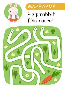 Pomóż króliczkowi znaleźć marchewkę. gra labirynt dla dzieci. ilustracja