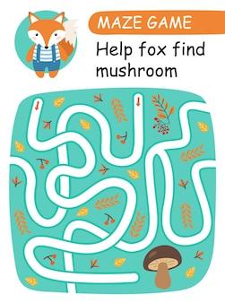 Pomóż lisowi znaleźć grzyby. gra labirynt dla dzieci. ilustracja