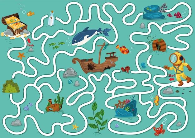 Pomóż nurkowi wzbogacić skrzynię skarbów gra labirynt dla dzieci ilustracja wektorowa