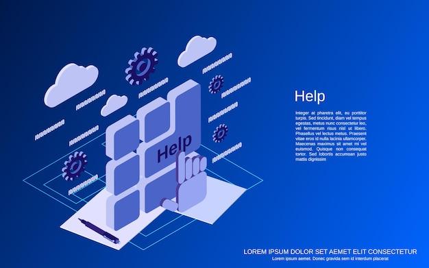 Pomóż płaskiemu 3d izometrycznemu wektorowi ilustracja koncepcja