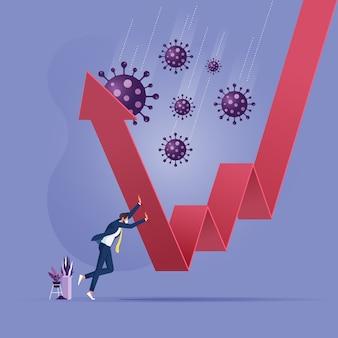 Pomóż uratować gospodarkę i biznes, aby przetrwać w koncepcji kryzysu finansowego biznesmen odzyskać i przywrócić z wykresu