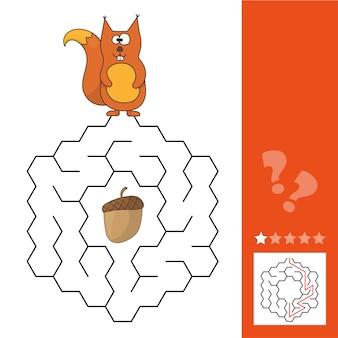 Pomóż wiewiórce znaleźć drogę do szyszki w grze labirynt. zabawna gra dla edukacji dzieci. labirynt - łatwy poziom.