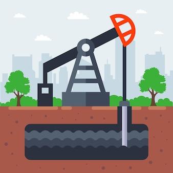 Pompuj olej z ilustracji ziemi