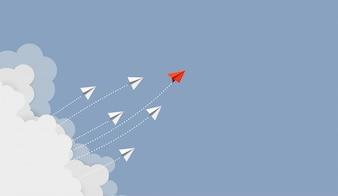 Pomysł na biznes. Czerwony papierowy lider samolotu latanie
