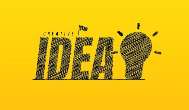 Pomysł bazgrołów tekst z tłem żarówki ręcznie rysowane kreatywny pomysł napis typografia concep