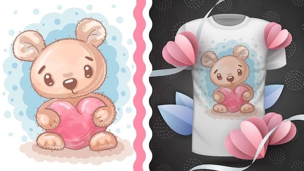 Pomysł bear with love na t-shirt z nadrukiem. rysowanie ręczne