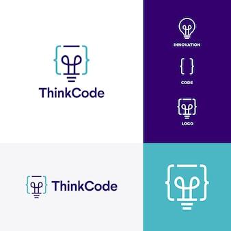 Pomyśl kod żarówka innowacji inteligentne logo wektor ikona