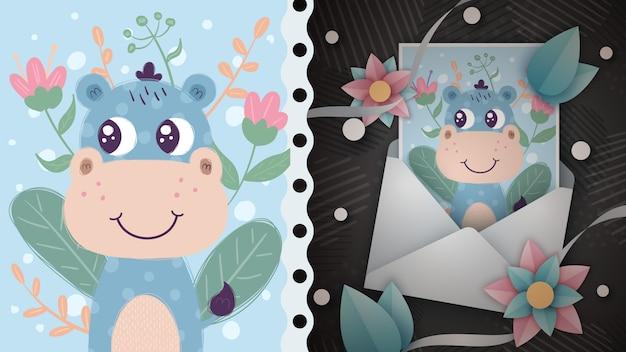 Pomysł ładny charakter hipopotama dla karty z pozdrowieniami