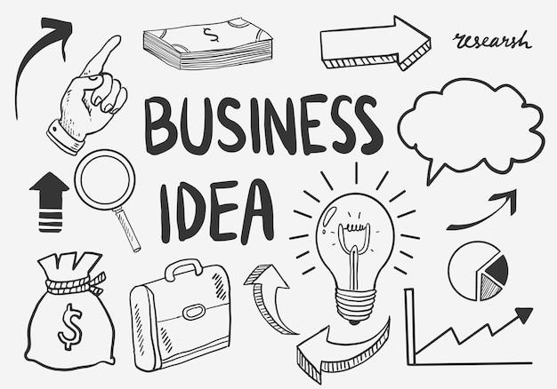 Pomysł na biznes gryzmoły zestaw ikon. ilustracja wektorowa. na białym tle.