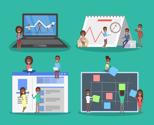 Pomysł na biznes. idea strategii i osiągnięć w pracy zespołowej. burza mózgów i sukces. ilustracja izometryczna