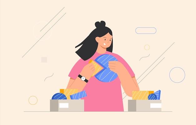 Pomysł na biznes. kobieta łącząca elementy układanki lub elementy układanki, abstrakcyjne kształty na tle