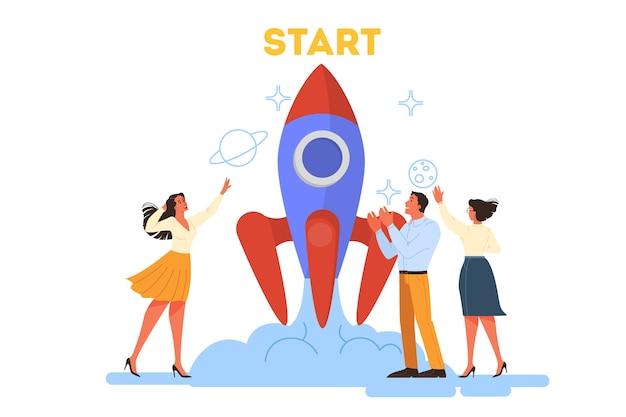 Pomysł na biznes. ludzie pracują razem w zespole. start rakiety jako metafora startu. rozwój biznesu. ilustracja ilustracja