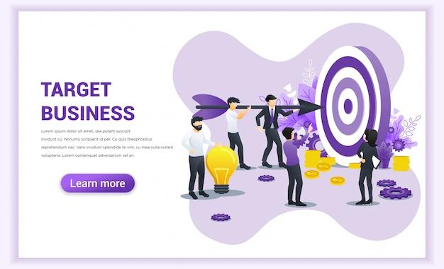 Pomysł na biznes. ludzie pracujący razem, trzymając wielką strzałkę wycelowaną w tarczę, aby osiągnąć cel. ilustracja wektorowa płaskie