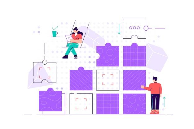 Pomysł na biznes. metafora zespołu. ludzie łączący elementy kolumn. ilustracja stylu płaska konstrukcja. symbol pracy zespołowej, współpracy, partnerstwa. płaski nowoczesny design dla sieci