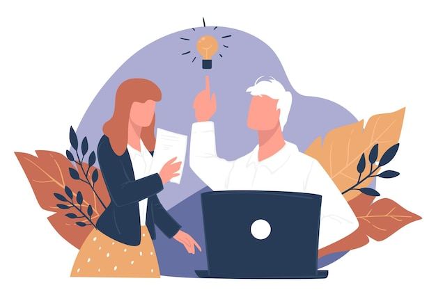 Pomysł na biznes na start, burza mózgów mężczyzna i kobieta w pracy, myślenie o rozwoju firmy. skuteczna strategia i planowanie, dyskusja w pracy. specjaliści it znajdują rozwiązanie zadania, wektor