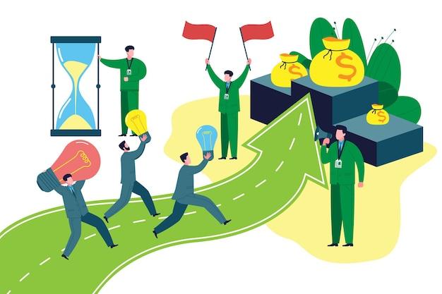 Pomysł na biznes. przedsiębiorcy biorą udział w konkursach o dofinansowanie lub grant na rozpoczęcie działalności i biegną z pomysłami w ręku do mety z pieniędzmi. płaska ilustracja wektorowa uruchamiania