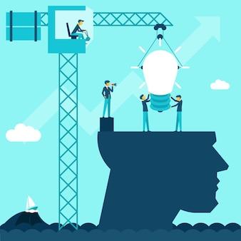 Pomysł na biznes wektor. ilustracja biznesmeni zakładają żarówkę za pomocą głowicy żurawia