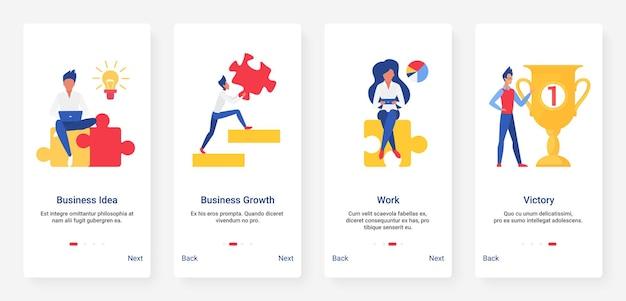 Pomysł na biznes, wzrost zysków, puzzle, zestaw ekranów pokładowych aplikacji mobilnej złotej nagrody