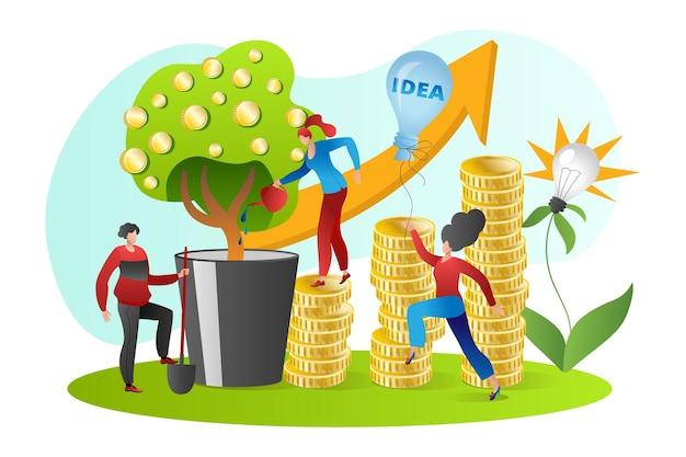 Pomysł na biznes z sukcesem wzrostu pieniędzy, ilustracji wektorowych. inwestycja finansowa dla płaskiego biznesmena kobieta ludzie charakter, strategia zysku finansowego. drzewo z monetami, wykres dochodów.