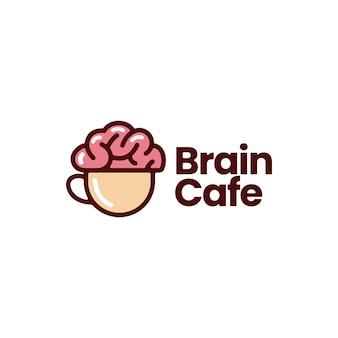 Pomysł na kawę w kawiarni mózgu myślę kreatywne logo wektor ikona ilustracja