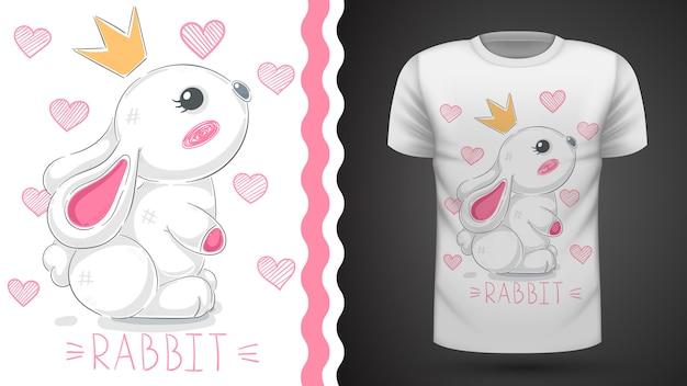 Pomysł na króliczka księżniczki na koszulkę z nadrukiem