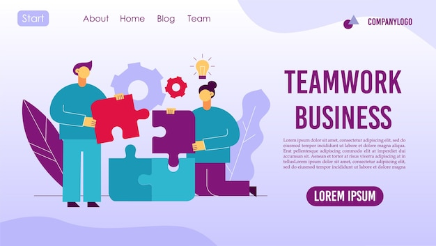 Pomysł na pracę zespołową. zarządzanie projektami biznesowymi. praca zespołowa, współpraca, partnerstwo. biznesmeni łączenie elementów układanki. współpraca z pracownikami, partnerami, współpracownikami proces przepływu pracy strona docelowa